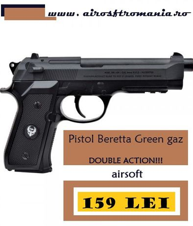 Pistol Beretta Double ACTION Green Gas HFC airsoft+1000bile+600ml gas