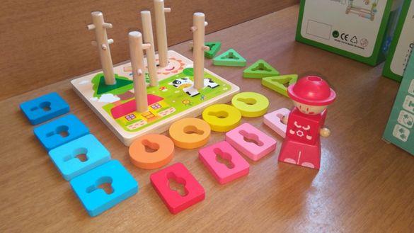 Сортер 5в1 по цветове с кравичка и слънце дървена играчка