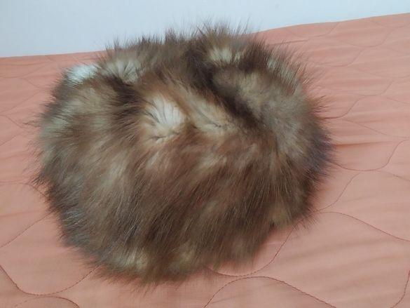 Шапка от естествен косъм от норка