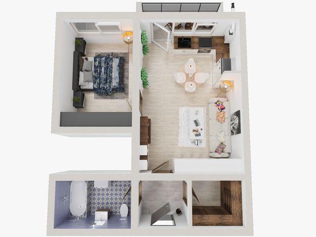 Apartament nou 2 camere tip studio 47.81 mp2