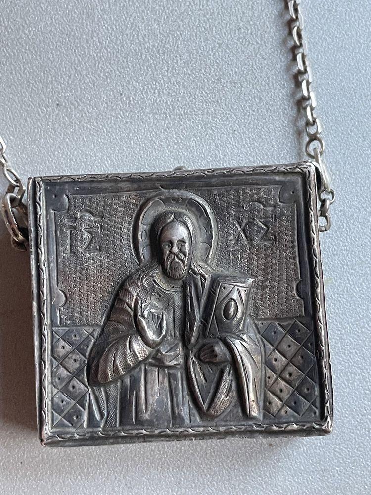 Rusia Icoana, Religvariu Engolpion Cutie moaște Cruce pectorala argint
