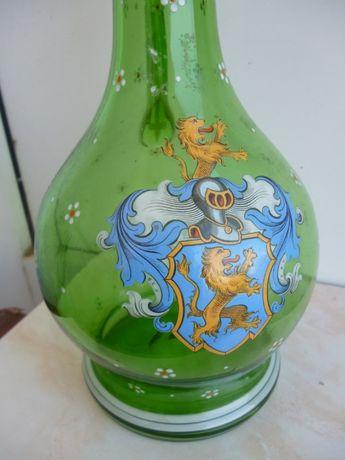 carafa cu 10 pahare-sticla emailata-inainte de 1900