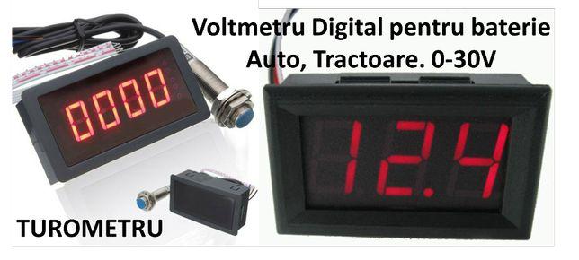 Voltmetru baterie Auto, Turometru Contor ore functionare Tractor Nou!