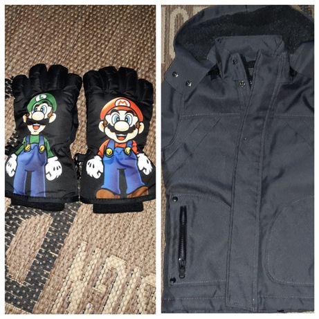 Mănuși H&M super mario mărime 98/104 si geaca baieti 3 ani