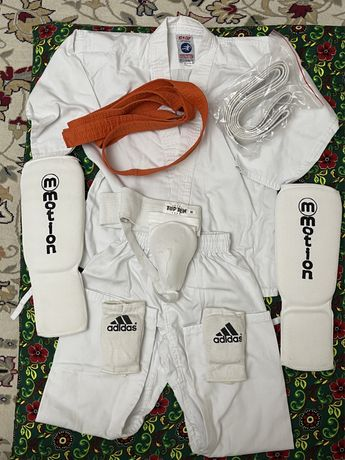 Кимоно каратэ,пояс,защита паха,бандаж,щитки,перчатки детские,бу,атырау