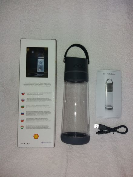 Бутилка за течности (вода, чай, сок) 650мл, вграден Bluetooth, лампа