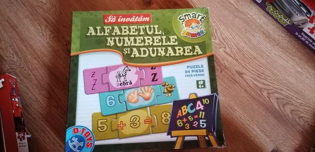 Set 2 jocuri puzzle :sa învățăm literele, numerele, adunarea, ceasul