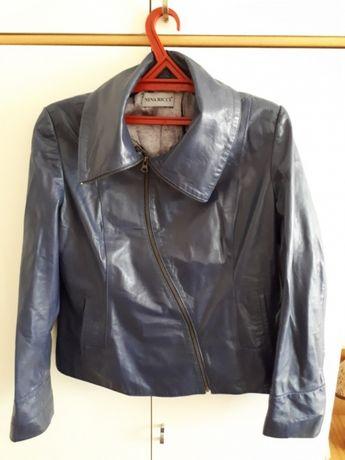 Куртка кожаная женская (синяя). 48-50 размер.