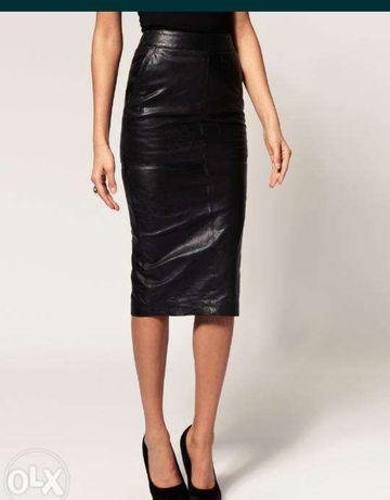 Кожаная юбка карандаш Zara