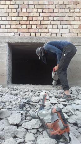 Недорого Услуги  Демонтаж разрушение бетона алмазние сверление и резка