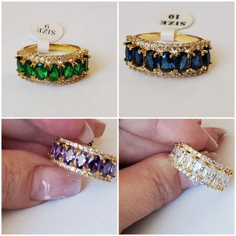 GPA60,inel placat aur 18k, masiv, zirconiu dif culori