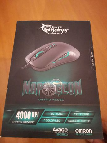Mouse gaming White Shark model-Napoleon (4000dpi, iluminare RGB) nou!