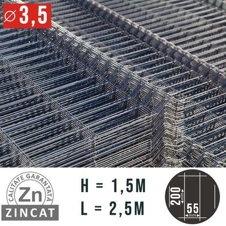 Panou gard bordurat zincat, 1500 X 2500 mm, diametru 3.5 mm