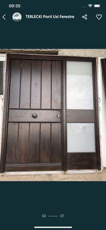Usa casa vila firma intrare lemn geam vitraliu termopan H 212 x L 173