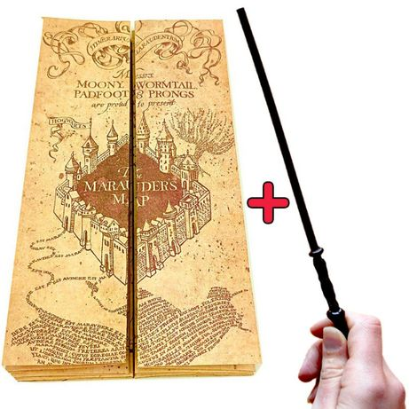 """Хитроумна Карта от Хари Потър + """"Магическа"""" Пръчка Дар Птица"""