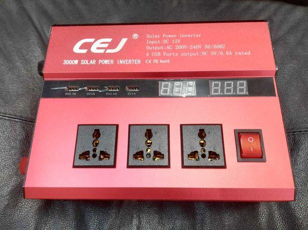 Invertor solar tensiune 12V - 220 V putere 3000 W / 4000 W+ cabluri
