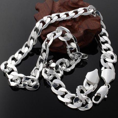 Мъжки сребърен ланец посребрен 51 см, 8,3 мм. дебелина, колие