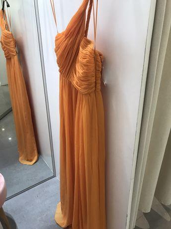 Rochie de seara orange noua Mango