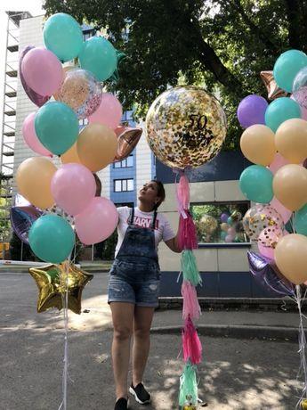 Шары, баблс с конфетти, гиганты, воздушные, гелиевые, прозрачные шары