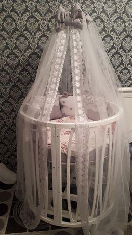 Детская кроватка 10 в 1, детский манеж овальный