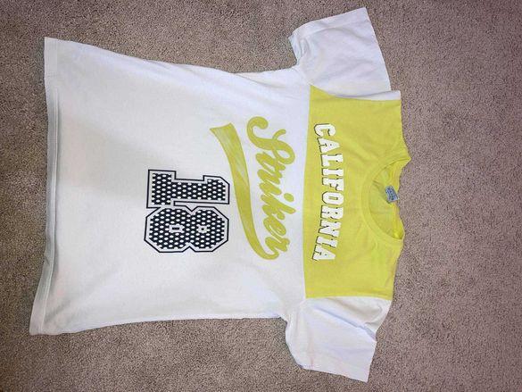 Детска тениска за момчета, размер: 152, бяло-жълта