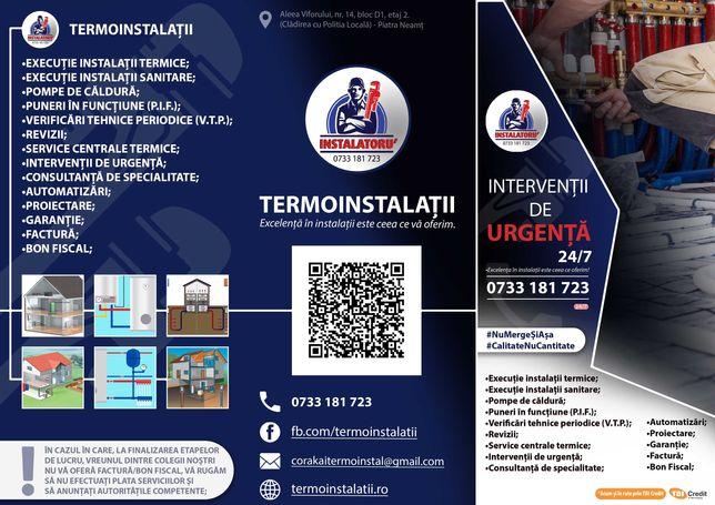 Instalatii sanitare, termice, service CT, automatizari, P.I.F, V.T.P.