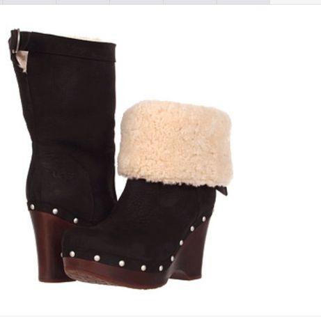 UGG CARNEGIE Superbe Cizme Fashion Platforma Negru Piele Original