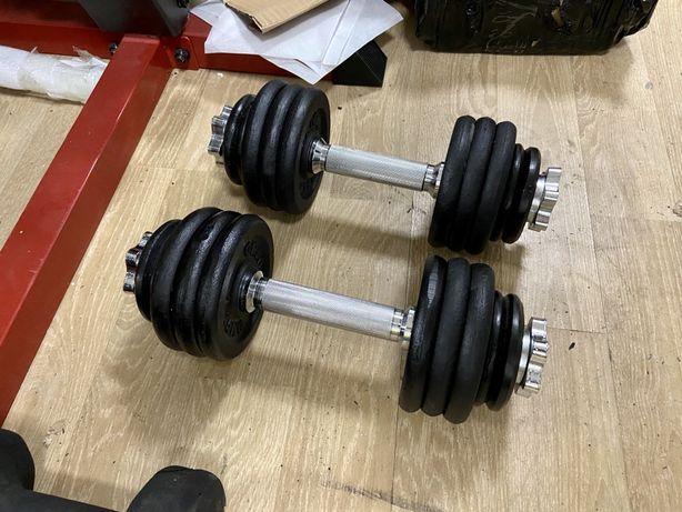 Gantere profesionale reglabile noi, 24 kg ambele, 12+12=24 kg pret 450