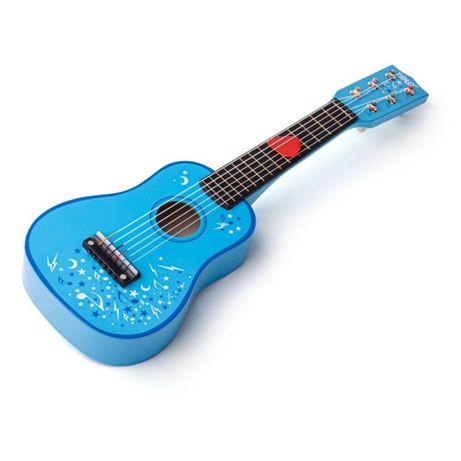 Bigjigs - Детска дървена китара в син цвят
