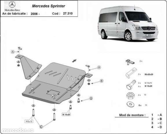 Scut metalic pentru motor Mercedes Sprinter 2006-2018 - otel 2,5mm