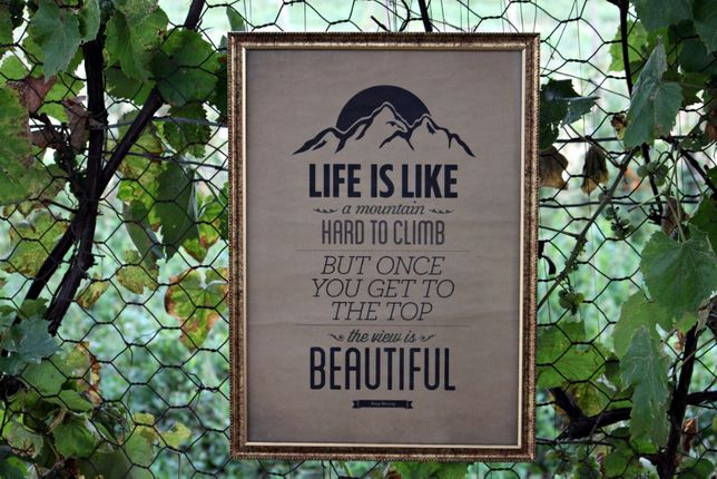 """Tablou / Poster """" Life Is Like A Mountain """" ( 41 x 55 cm )"""