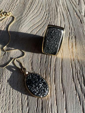 Set pandantiv inel 53 agat negru druza  placat aur
