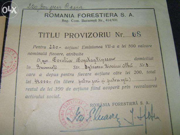 Actiune ROMANIA FORESTIERA S.A.Titlu provizoriu,Banca Romaneasca