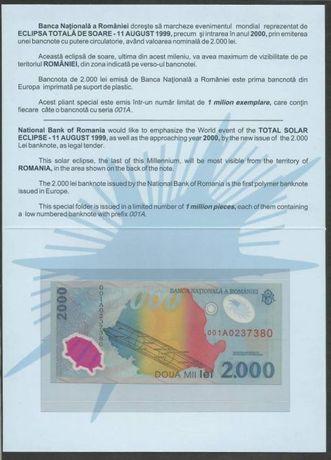 Bancnota 2000 lei cu eclipsa in folder BNR sau schimb cu diverse