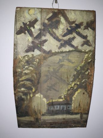 "Pictura veche pe lemn ""Bombardiere la V. Romanesti C. Muscel în 1944"""