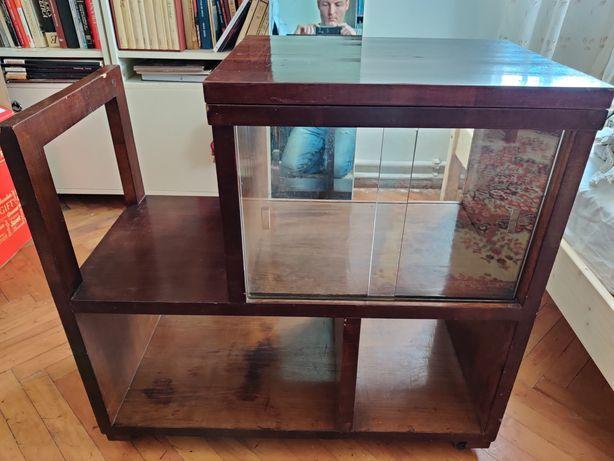Minibar lemn masiv cu vitrina de sticla
