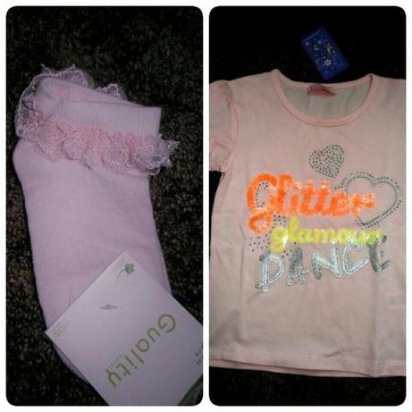Комплект фанелка и чорапки в бонбонено розово за 6,7 годишно момиченце