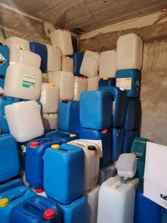 Bidoane de 20 litri albastru și albe cu capac și garnitura