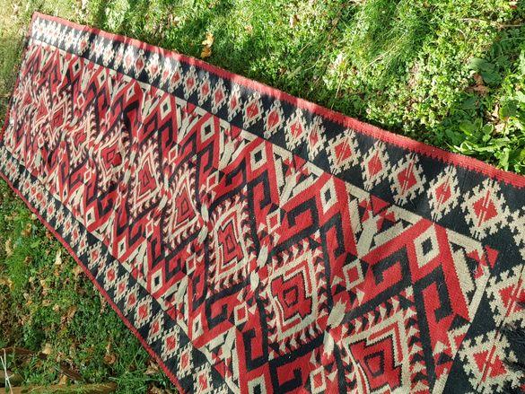 Традиционна вълнена тъкана черга с шевици - нова 4.15х1.2м
