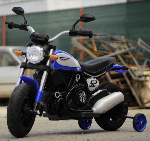 Motocicleta electrica pentru copii QK307 2x30W, roti Gonflabile #Blue