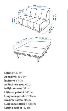 Canapea 2 locuri, extensibila