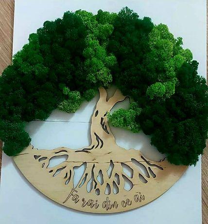 Aranjament tablou Copacul Vietii cu licheni premium 30 cm