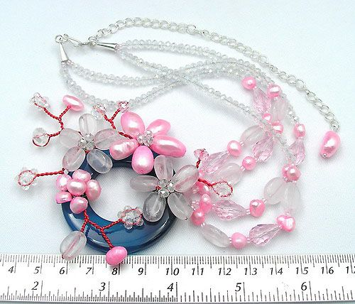 Colier unic agat, perle de cultura, cristale cuart argint handmade nou