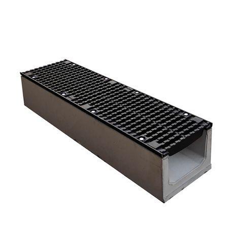 Лоток водоотводный бетонный 1000/270/275 мм с решеткой чугунной D400