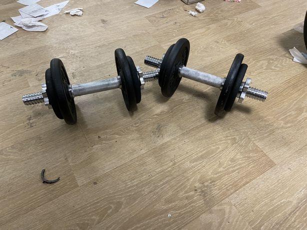 Gantere profesionale reglabile noi 20 kg, 10+10=20 kg noi,pret 300 ron