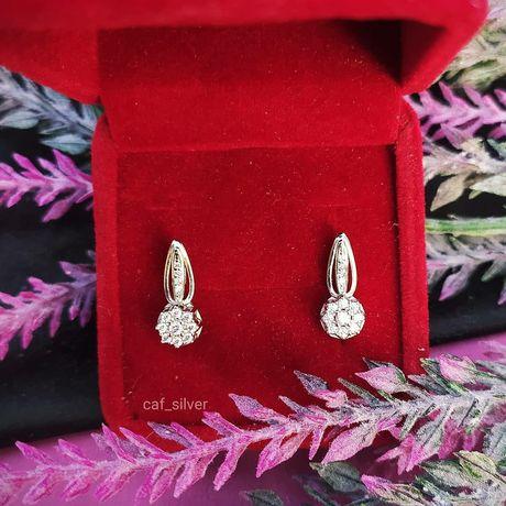 Серебро серьги с камнями недорого новые