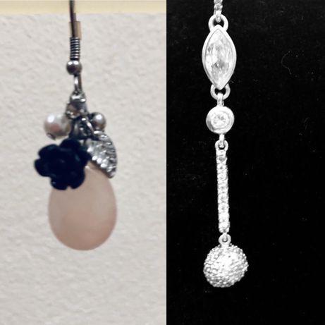 Обеци с перли и планински кристал и дълги сребърни обеци