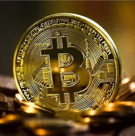 Биткойн монета Bitcoin сувенирна позлатена колекционерска монета