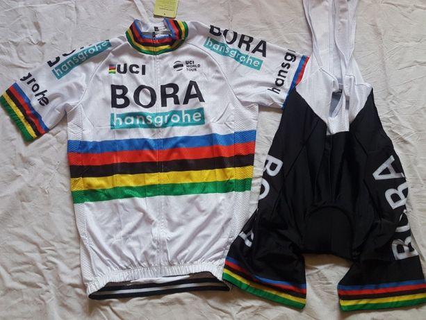 Echipament ciclism Sagan Bora World cham 2018 set pantaloni tricou NOU