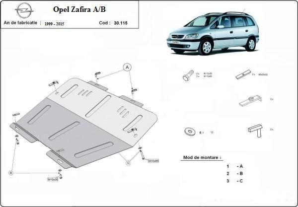 Scut motor metalic pentru Opel Zafira A,B,C 1999-prezent - otel 2mm